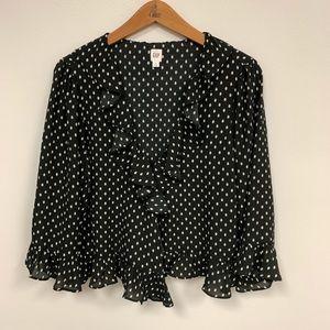 ⚪️⚫️Gap Frill/Ruffle Black Dot Blouse ⚫️⚪️